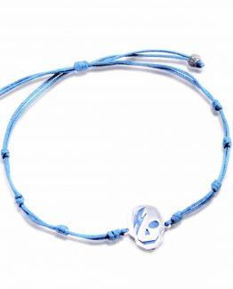 pulsera cordon azul celeste plata