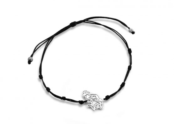 pulsera cordon negro plata little joe