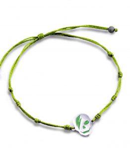 Pulsera calavera cordon verde plata