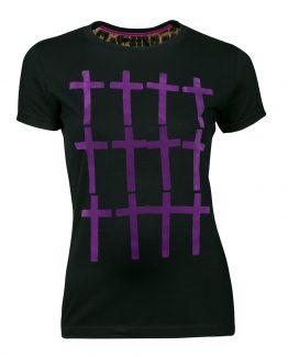camiseta cruces morado