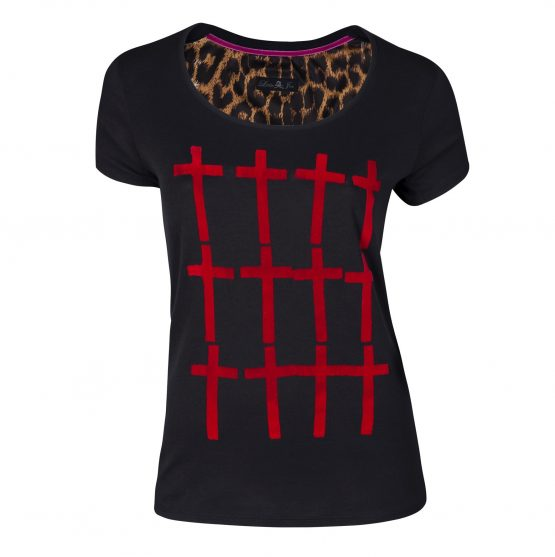 camisetas cruces rojo cuello bajo